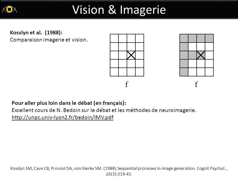 Vision & Imagerie Kosslyn SM, Cave CB, Provost DA, von Gierke SM. (1988).Sequential processes in image generation. Cognit Psychol., 20(3):319-43. Koss