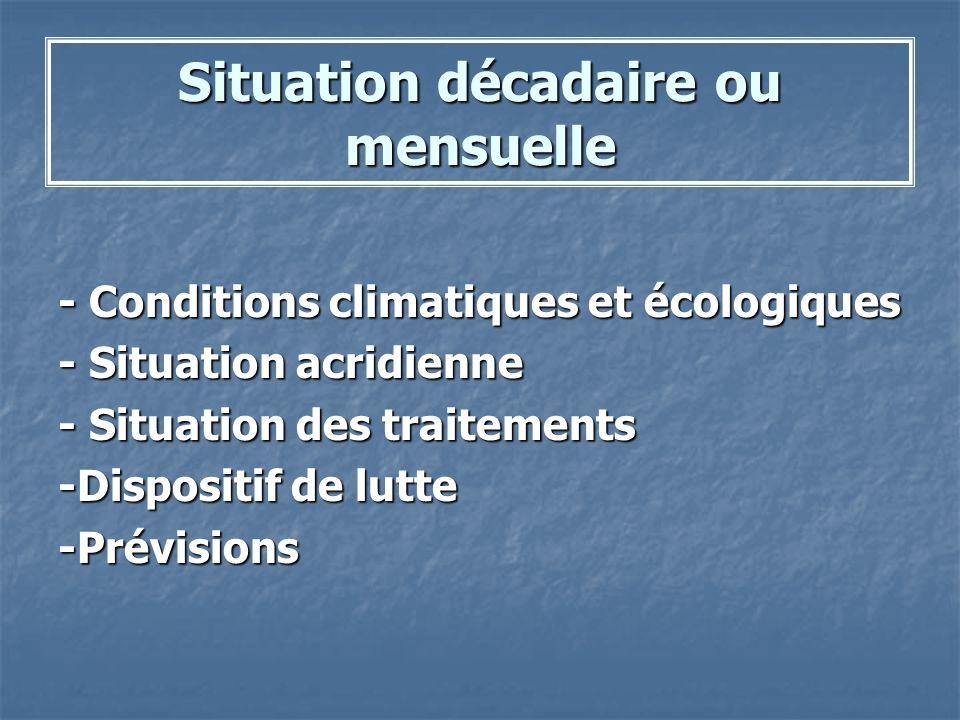 Situation décadaire ou mensuelle - Conditions climatiques et écologiques - Situation acridienne - Situation des traitements -Dispositif de lutte -Prév