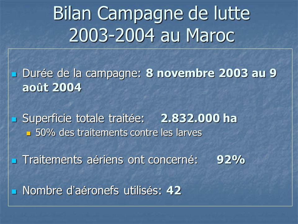 Bilan Campagne de lutte 2003-2004 au Maroc Dur é e de la campagne: 8 novembre 2003 au 9 ao û t 2004 Dur é e de la campagne: 8 novembre 2003 au 9 ao û