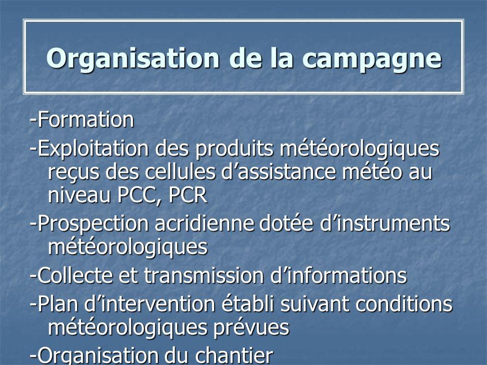 Organisation de la campagne -Formation -Exploitation des produits météorologiques reçus des cellules dassistance météo au niveau PCC, PCR -Prospection