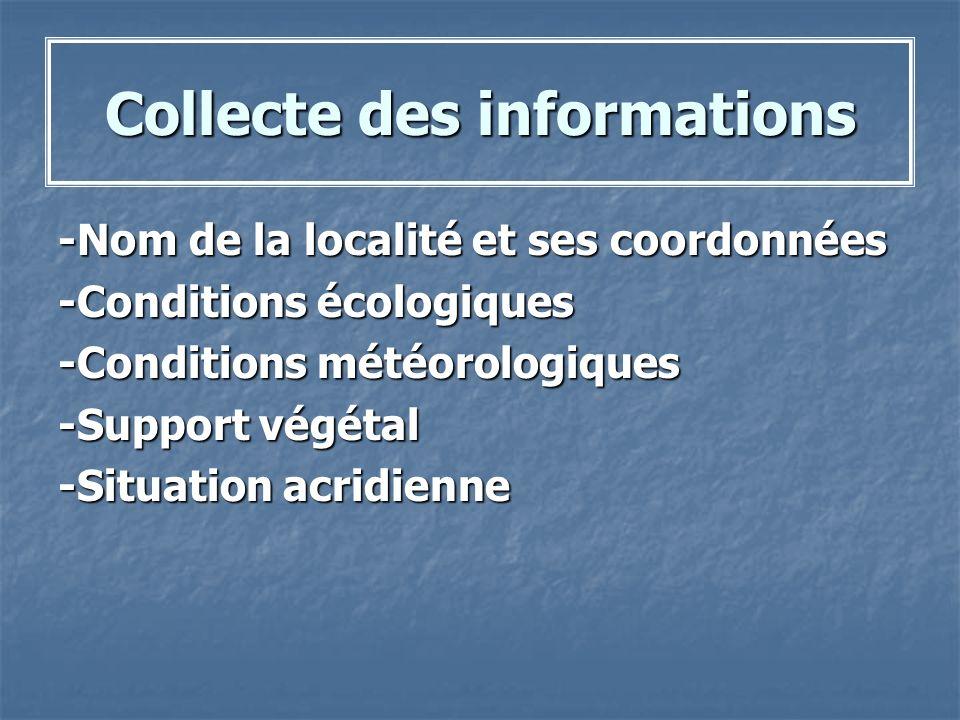 Collecte des informations -Nom de la localité et ses coordonnées -Conditions écologiques -Conditions météorologiques -Support végétal -Situation acrid