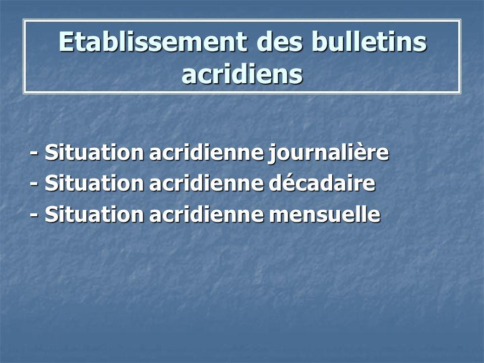Etablissement des bulletins acridiens - Situation acridienne journalière - Situation acridienne décadaire - Situation acridienne mensuelle