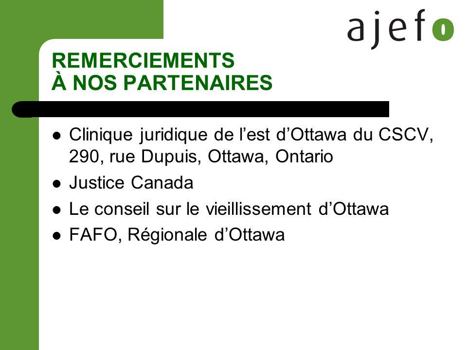 REMERCIEMENTS À NOS PARTENAIRES Clinique juridique de lest dOttawa du CSCV, 290, rue Dupuis, Ottawa, Ontario Justice Canada Le conseil sur le vieillissement dOttawa FAFO, Régionale dOttawa