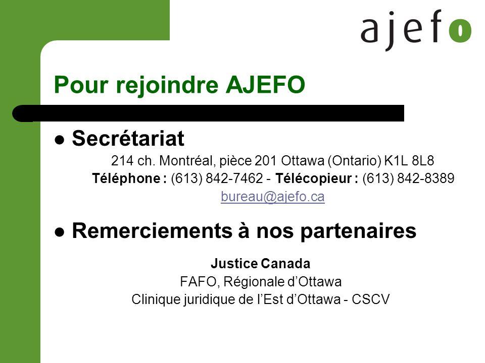 Pour rejoindre AJEFO Secrétariat 214 ch.