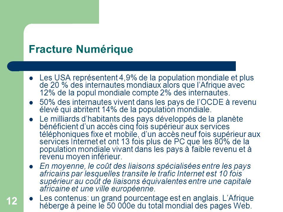 12 Fracture Numérique Les USA représentent 4,9% de la population mondiale et plus de 20 % des internautes mondiaux alors que lAfrique avec 12% de la popul mondiale compte 2% des internautes.