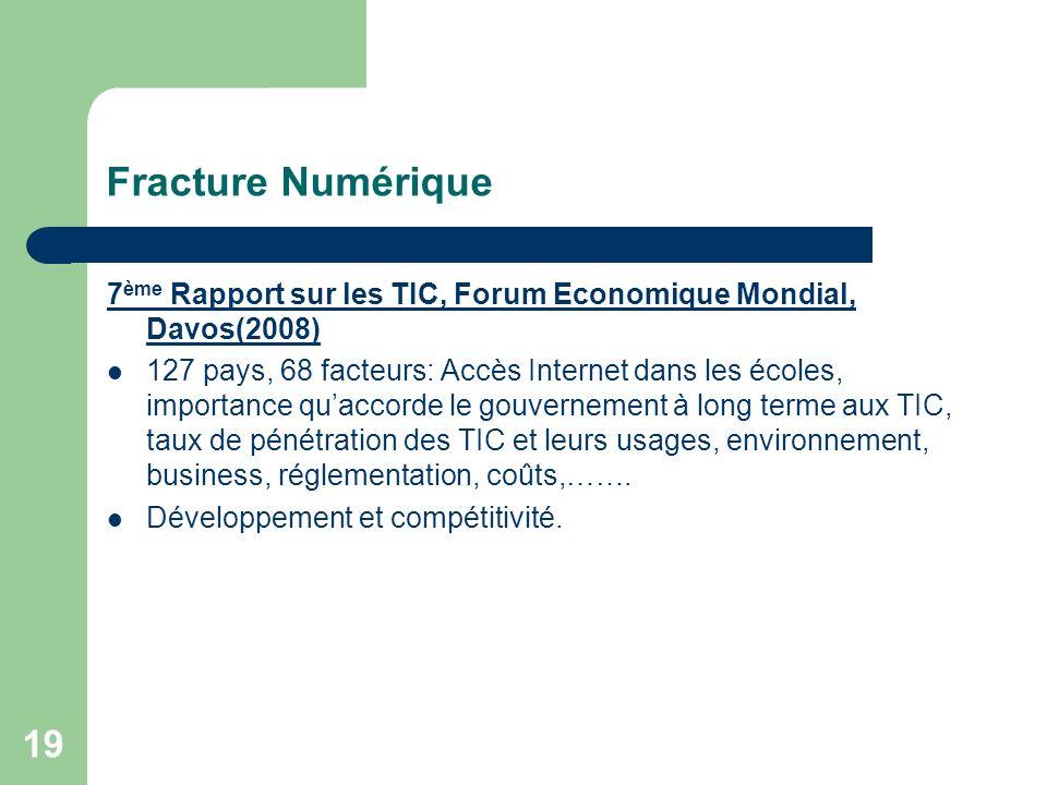 19 Fracture Numérique 7 ème Rapport sur les TIC, Forum Economique Mondial, Davos(2008) 127 pays, 68 facteurs: Accès Internet dans les écoles, importance quaccorde le gouvernement à long terme aux TIC, taux de pénétration des TIC et leurs usages, environnement, business, réglementation, coûts,…….