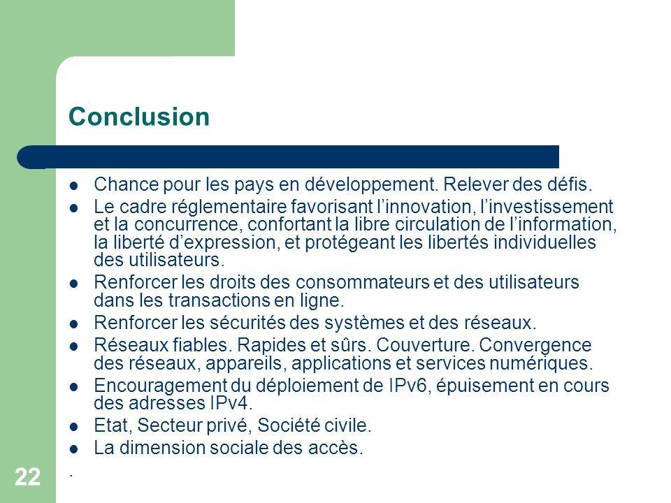 22 Conclusion Chance pour les pays en développement.
