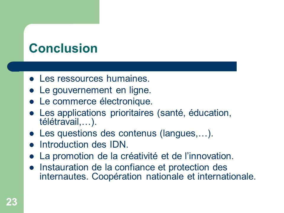 23 Conclusion Les ressources humaines. Le gouvernement en ligne.