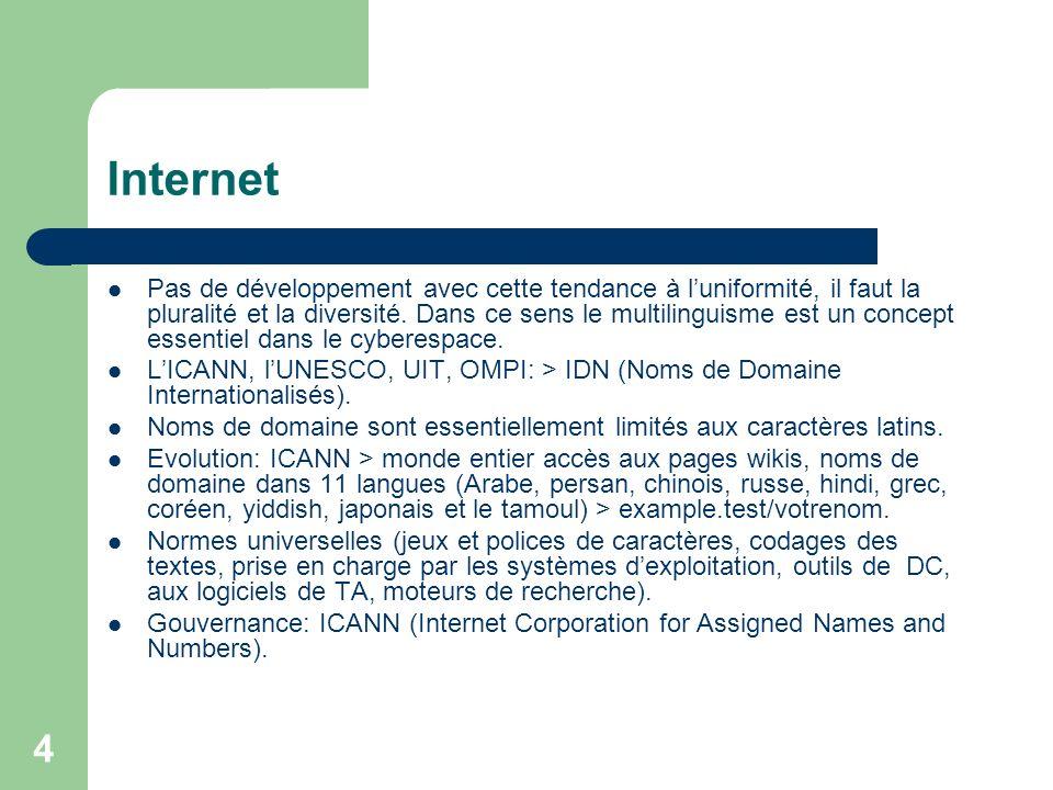 4 Internet Pas de développement avec cette tendance à luniformité, il faut la pluralité et la diversité.