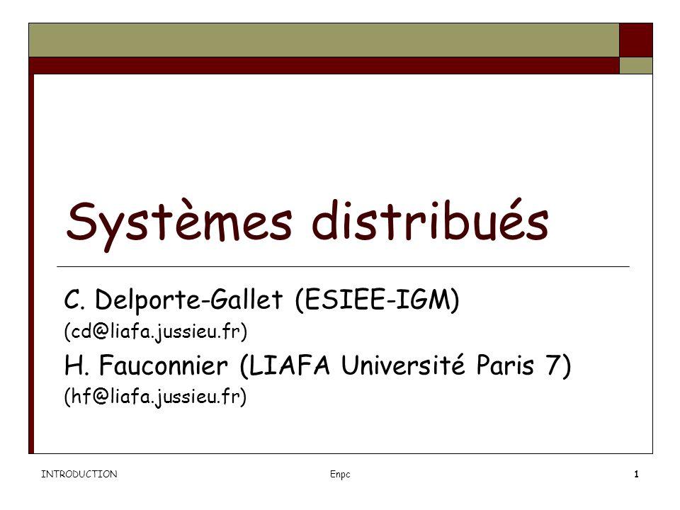 INTRODUCTIONEnpc1 Systèmes distribués C.Delporte-Gallet (ESIEE-IGM) (cd@liafa.jussieu.fr) H.