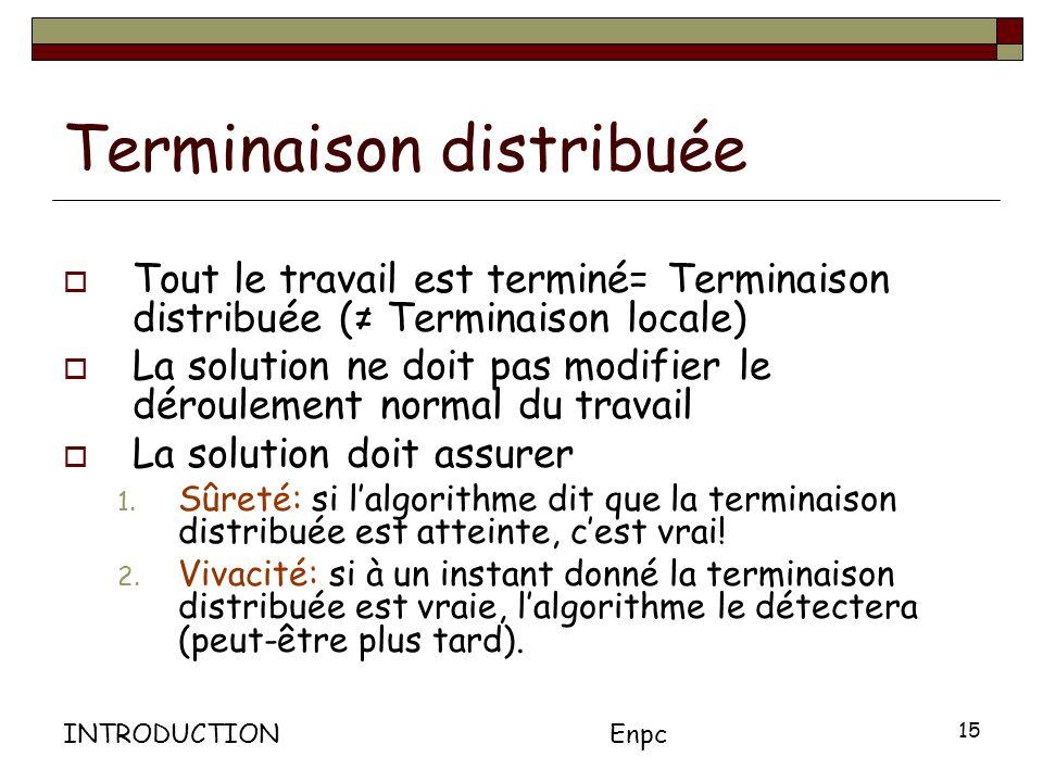 INTRODUCTIONEnpc 15 Terminaison distribuée Tout le travail est terminé= Terminaison distribuée ( Terminaison locale) La solution ne doit pas modifier le déroulement normal du travail La solution doit assurer 1.