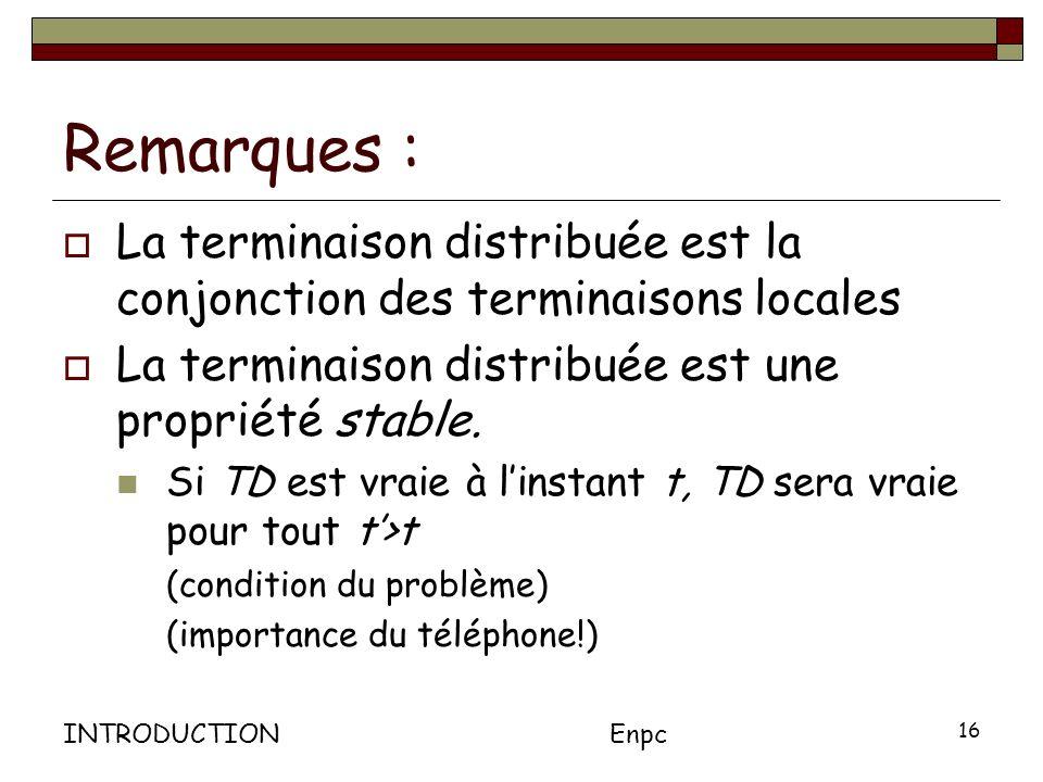 INTRODUCTIONEnpc 16 Remarques : La terminaison distribuée est la conjonction des terminaisons locales La terminaison distribuée est une propriété stable.