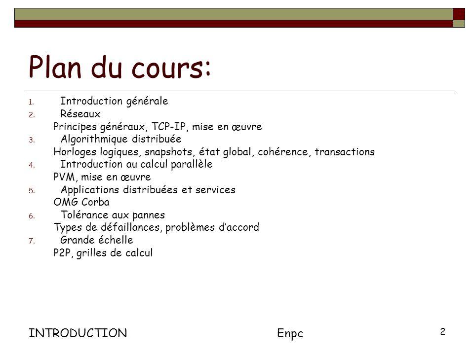 INTRODUCTIONEnpc 2 Plan du cours: 1.Introduction générale 2.