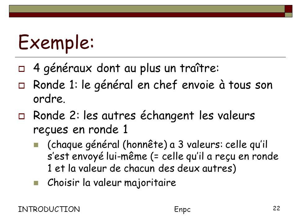 INTRODUCTIONEnpc 22 Exemple: 4 généraux dont au plus un traître: Ronde 1: le général en chef envoie à tous son ordre.