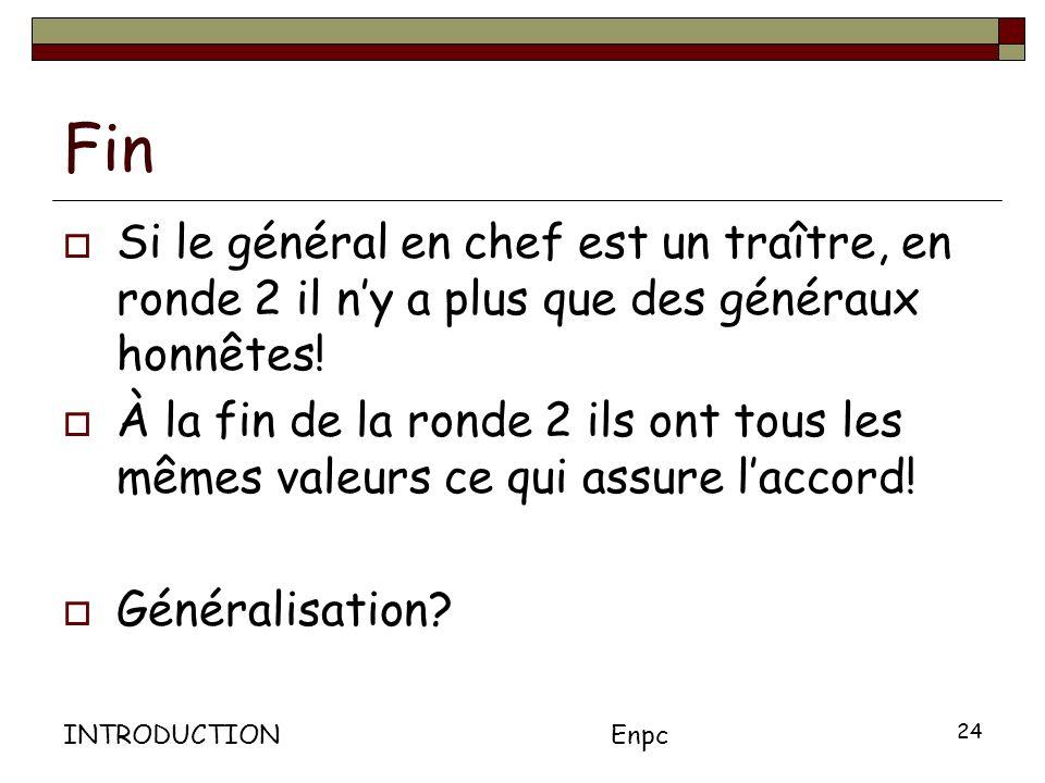 INTRODUCTIONEnpc 24 Fin Si le général en chef est un traître, en ronde 2 il ny a plus que des généraux honnêtes.