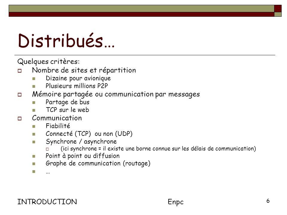 INTRODUCTIONEnpc 6 Distribués… Quelques critères: Nombre de sites et répartition Dizaine pour avionique Plusieurs millions P2P Mémoire partagée ou communication par messages Partage de bus TCP sur le web Communication Fiabilité Connecté (TCP) ou non (UDP) Synchrone / asynchrone (ici synchrone = il existe une borne connue sur les délais de communication) Point à point ou diffusion Graphe de communication (routage) …