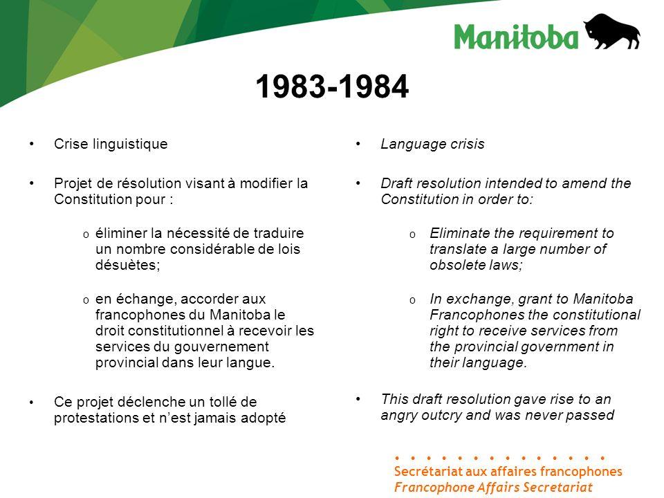 Secrétariat aux affaires francophones Francophone Affairs Secretariat 1983-1984 Crise linguistique Projet de résolution visant à modifier la Constitut