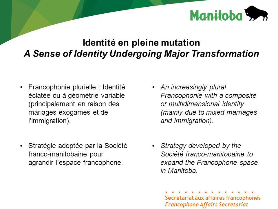 Secrétariat aux affaires francophones Francophone Affairs Secretariat Identité en pleine mutation A Sense of Identity Undergoing Major Transformation