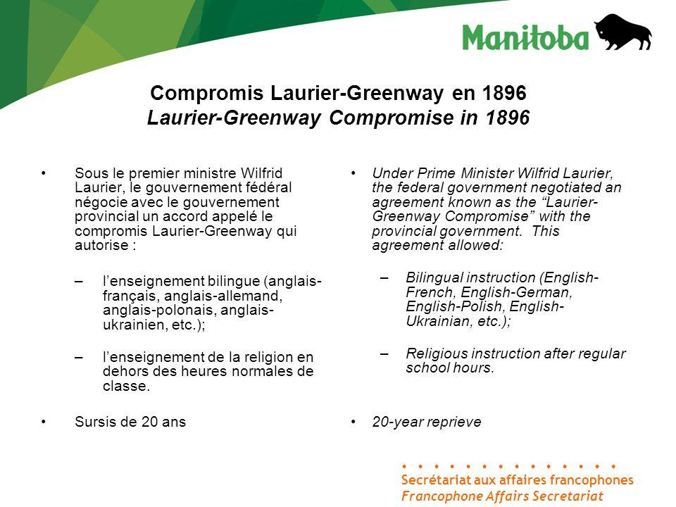 Compromis Laurier-Greenway en 1896 Laurier-Greenway Compromise in 1896 Secrétariat aux affaires francophones Francophone Affairs Secretariat Sous le p