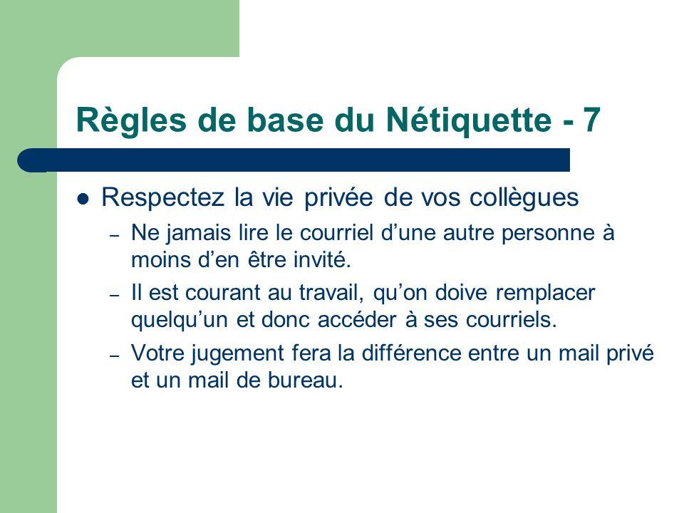 Règles de base du Nétiquette - 7 Respectez la vie privée de vos collègues – Ne jamais lire le courriel dune autre personne à moins den être invité. –