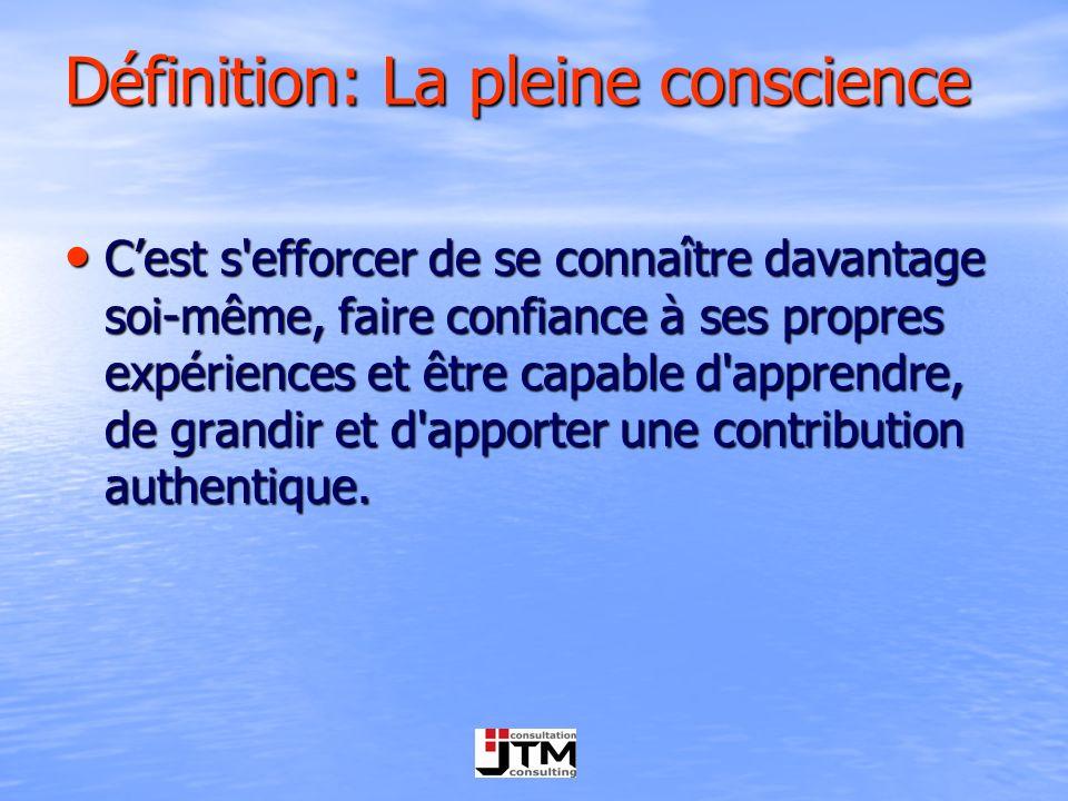 Définition: La pleine conscience Cest s'efforcer de se connaître davantage soi-même, faire confiance à ses propres expériences et être capable d'appre