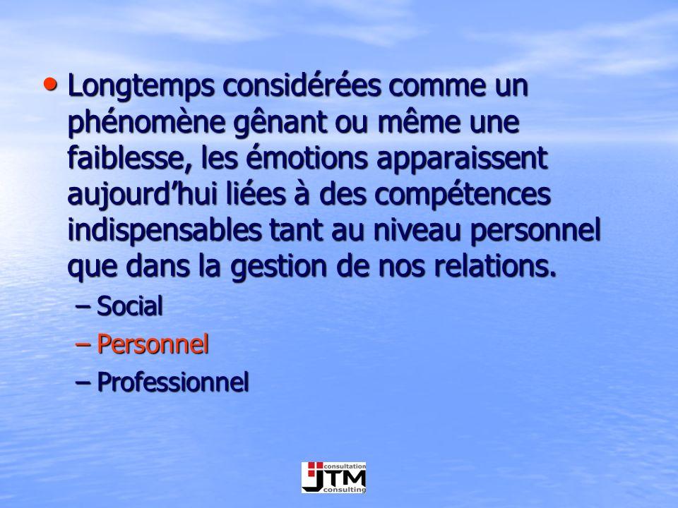 Longtemps considérées comme un phénomène gênant ou même une faiblesse, les émotions apparaissent aujourdhui liées à des compétences indispensables tan