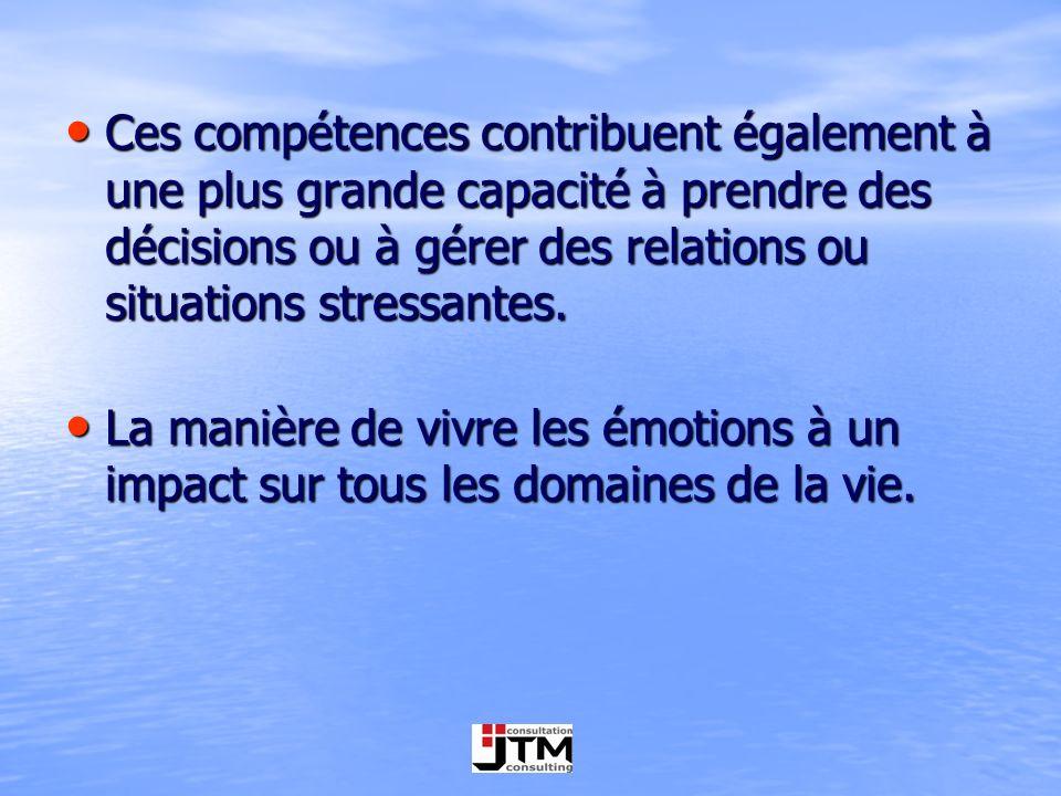 Ces compétences contribuent également à une plus grande capacité à prendre des décisions ou à gérer des relations ou situations stressantes. Ces compé