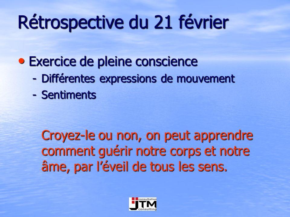 Rétrospective du 21 février Exercice de pleine conscience Exercice de pleine conscience -Différentes expressions de mouvement -Sentiments Croyez-le ou