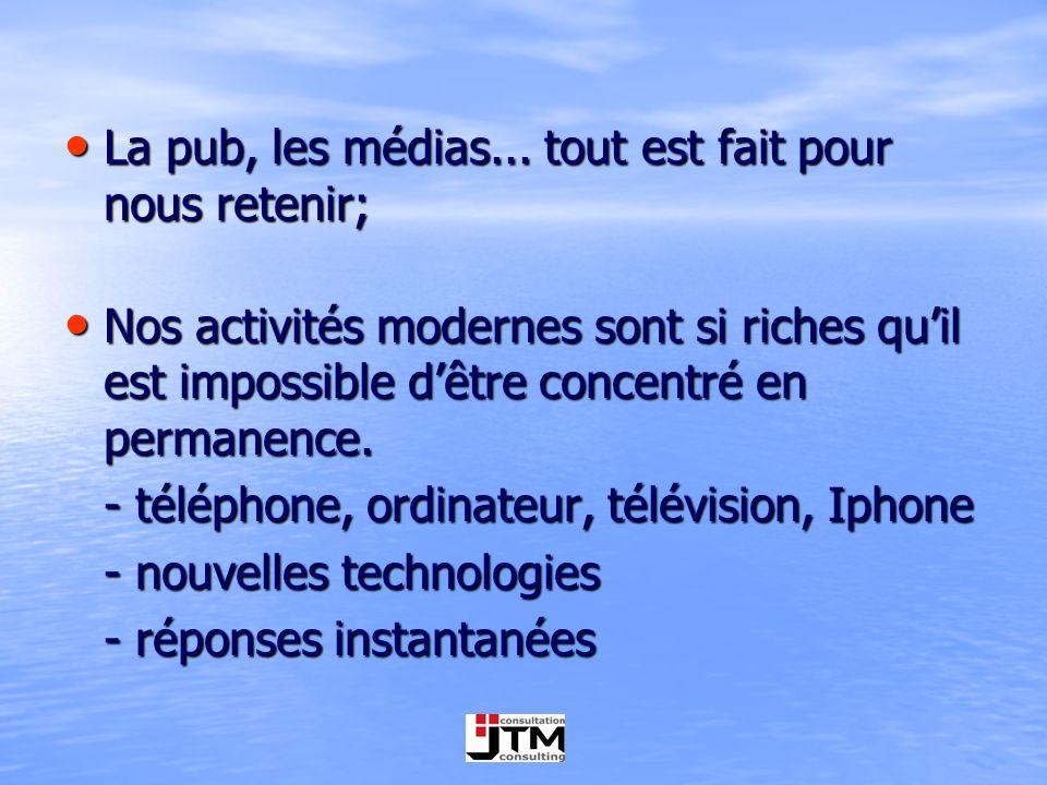 La pub, les médias... tout est fait pour nous retenir; La pub, les médias... tout est fait pour nous retenir; Nos activités modernes sont si riches qu