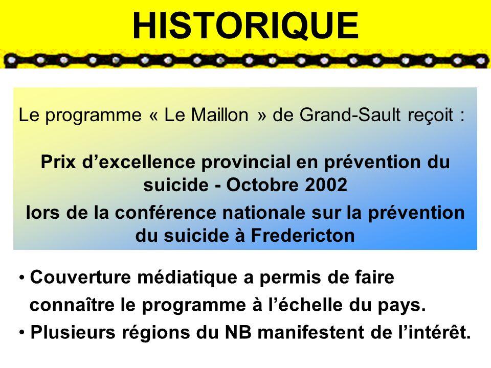 HISTORIQUE Le programme « Le Maillon » de Grand-Sault reçoit : Prix dexcellence provincial en prévention du suicide - Octobre 2002 lors de la conférence nationale sur la prévention du suicide à Fredericton Couverture médiatique a permis de faire connaître le programme à léchelle du pays.
