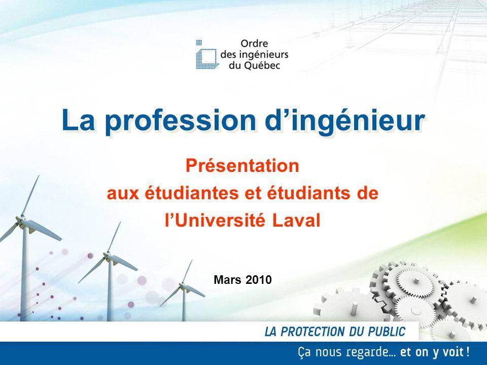 La profession dingénieur Mars 2010 Présentation aux étudiantes et étudiants de lUniversité Laval Présentation aux étudiantes et étudiants de lUniversi