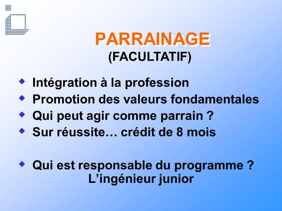 PARRAINAGE Intégration à la profession Promotion des valeurs fondamentales Qui peut agir comme parrain ? Sur réussite… crédit de 8 mois Qui est respon