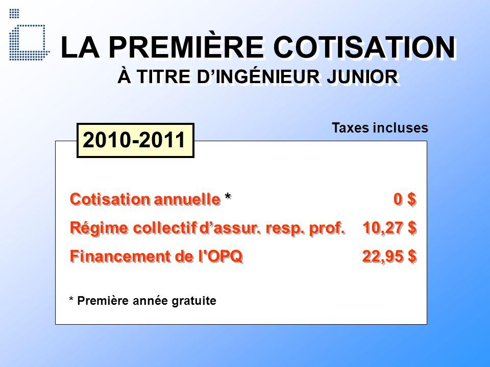 LA PREMIÈRE COTISATION À TITRE DINGÉNIEUR JUNIOR 2010-2011 Cotisation annuelle * 0 $ Régime collectif dassur. resp. prof. 10,27 $ Financement de l'OPQ