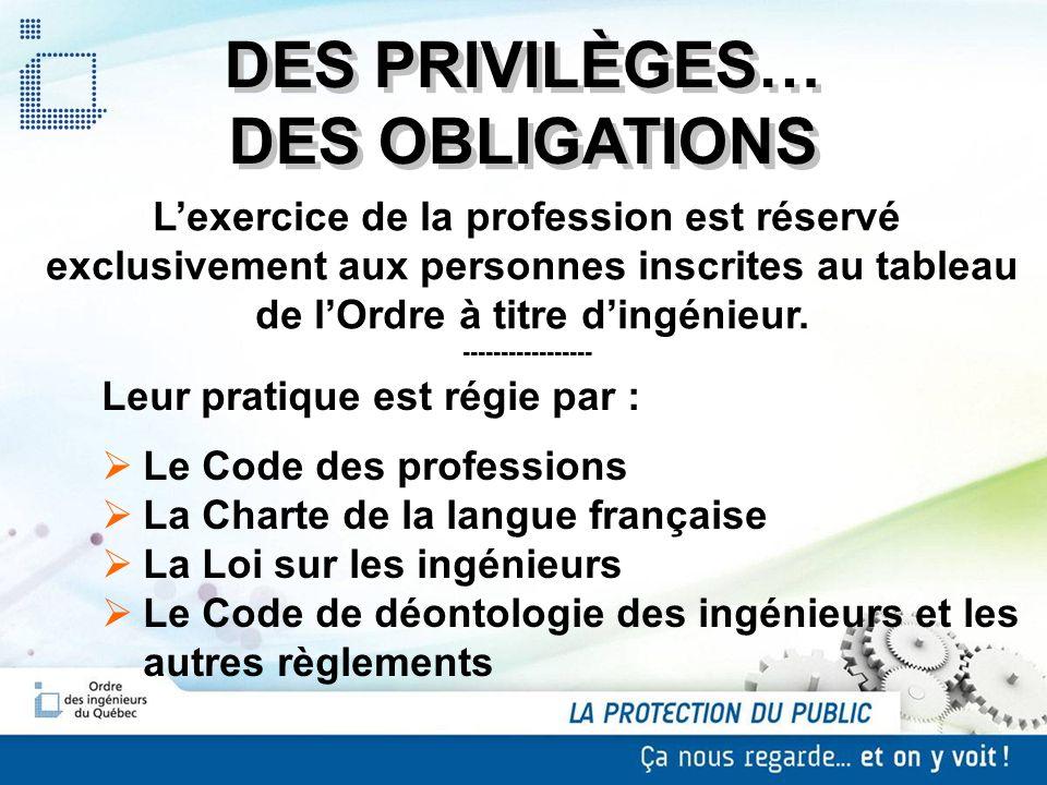 DES PRIVILÈGES… DES OBLIGATIONS Lexercice de la profession est réservé exclusivement aux personnes inscrites au tableau de lOrdre à titre dingénieur.