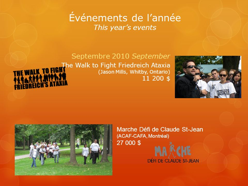 Marche Défi de Claude St-Jean (ACAF-CAFA, Montréal) 27 000 $ Septembre 2010 September The Walk to Fight Friedreich Ataxia (Jason Mills, Whitby, Ontario) 11 200 $