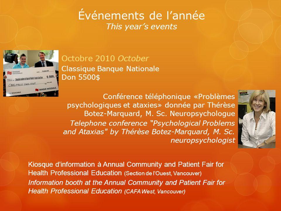 Octobre 2010 October Classique Banque Nationale Don 5500$ Conférence téléphonique «Problèmes psychologiques et ataxies» donnée par Thérèse Botez-Marquard, M.