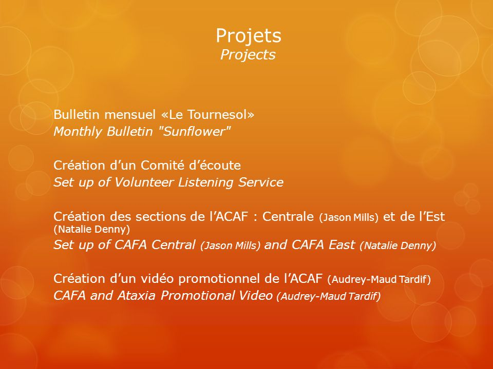 Bulletin mensuel «Le Tournesol» Monthly Bulletin Sunflower Création dun Comité découte Set up of Volunteer Listening Service Création des sections de lACAF : Centrale (Jason Mills) et de lEst (Natalie Denny) Set up of CAFA Central (Jason Mills) and CAFA East (Natalie Denny) Création dun vidéo promotionnel de lACAF (Audrey-Maud Tardif) CAFA and Ataxia Promotional Video (Audrey-Maud Tardif) Projets Projects