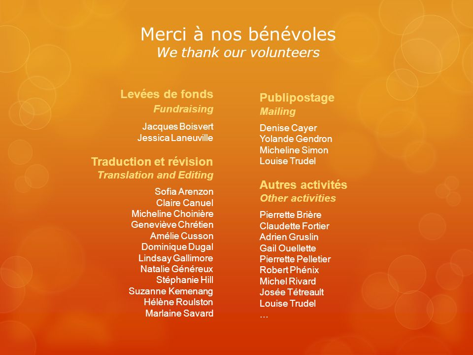 Merci à nos bénévoles We thank our volunteers Publipostage Mailing Denise Cayer Yolande Gendron Micheline Simon Louise Trudel Autres activités Other a