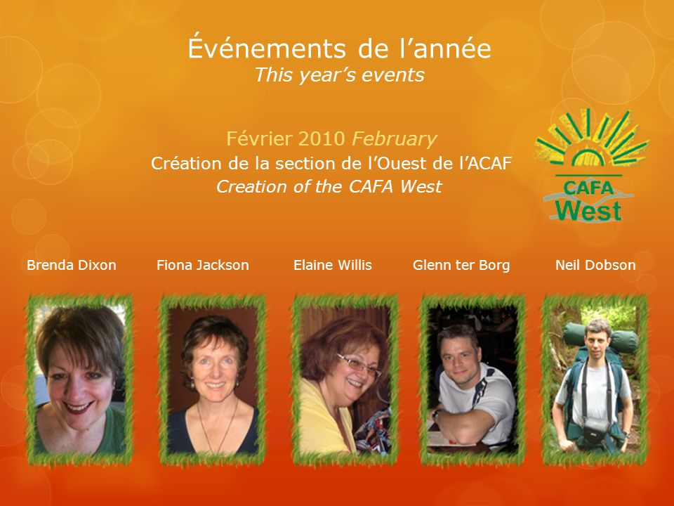 Projets Projects Janvier 2011 January Campagne postale annuelle (ACAF) Annual Mail Campaign (CAFA) Fevrier 2011 February Skidoo Poker Run (Jessica Laneuville) Encan en ligne/Online Auction (ACAF-CAFA) Mars 2011 March Banquet-rencontre (ACAF) Banquet Meeting ( CAFA) Mai 2011 May St-Jean Baptiste à Ste-Gertrude (Hommage à Jessica Laneuville In honour of Jessica Laneuville) Septembre 2011 September Marche Défi de Claude St-Jean (ACAF-CAFA) The Walk to Fight Friedreich Ataxia (Jason Mills)