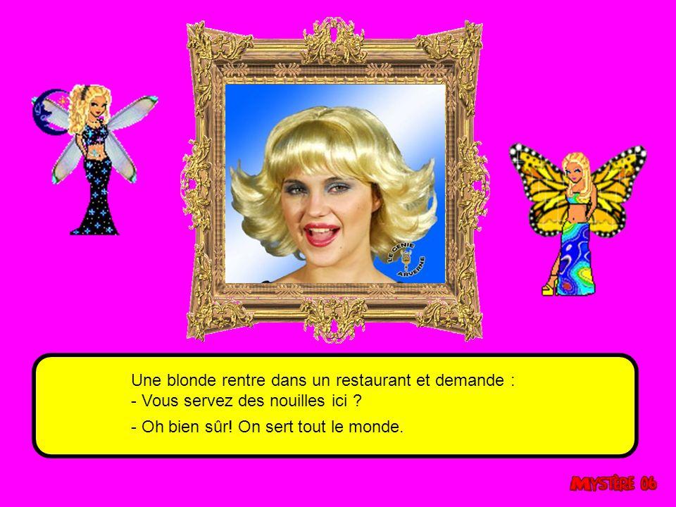 Comment une blonde éteint la lumière le soir ? Réponse : En fermant les yeux Que fait une blonde quand elle est au cinéma ? Elle cherche la télécomman