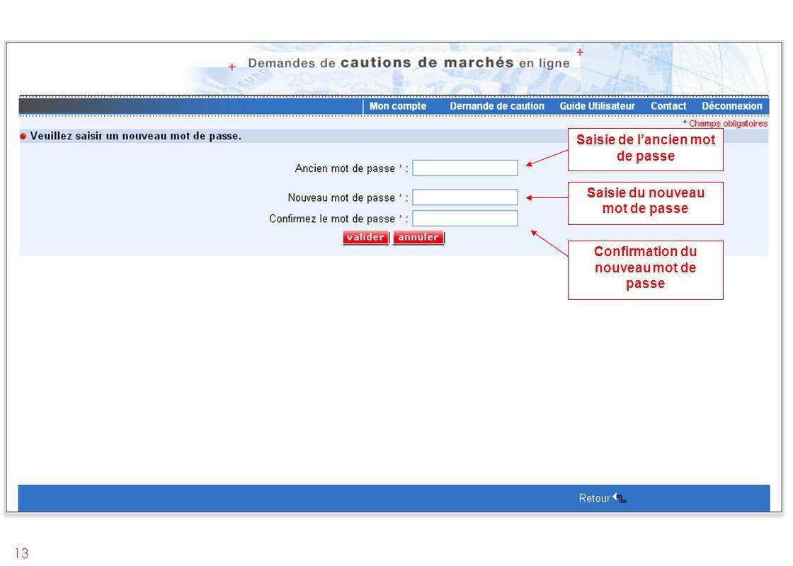 13 Saisie de lancien mot de passe Saisie du nouveau mot de passe Confirmation du nouveau mot de passe