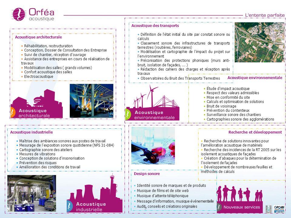 9 Recherche et développement Recherche de solutions innovantes pour lamélioration acoustique de matériels Recherche des incidences de la RT 2005 sur l