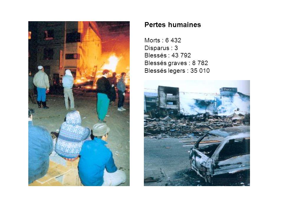 Bâtiments entièrement détruits :181 799 foyers Bâtiments à moitie détruits : 276 166 foyers Bâtiments partiellement détruits : 263 702 Batiments publics : 865 Etablissement public: 941 Autres : 3 983 Routes : 10 069 Ponts : 320 Glissements de terrain : 378 Effondrements du mur : 1 480 Coupures deau : 1 300 000 foyers Coupures de gaz : 860 000 foyers Coupures de courant : 2 600 000 foyers Coupures de téléphone : 300 000 lignes Voies et réseaux Dégats matériels