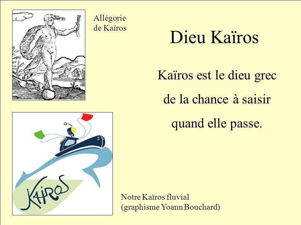 Dieu Kaïros Kaïros est le dieu grec de la chance à saisir quand elle passe. Allégorie de Kaïros Notre Kaïros fluvial (graphisme Yoann Bouchard)