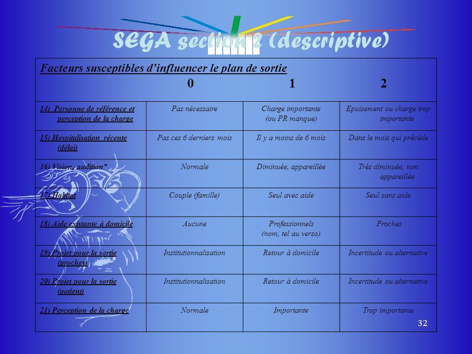 du masque du masque 32 SEGA section 2 (descriptive) Facteurs susceptibles dinfluencer le plan de sortie 0 1 2 14) Personne de référence et perception