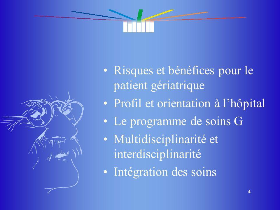du masque du masque 4 Risques et bénéfices pour le patient gériatrique Profil et orientation à lhôpital Le programme de soins G Multidisciplinarité et