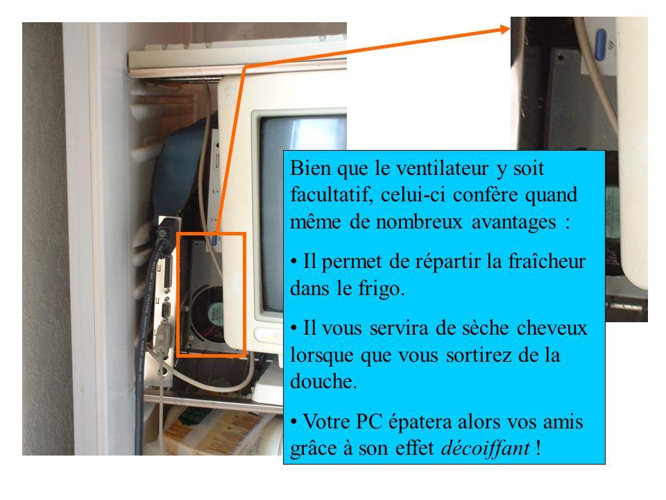 Bien que le ventilateur y soit facultatif, celui-ci confère quand même de nombreux avantages : Il permet de répartir la fraîcheur dans le frigo. Il vo