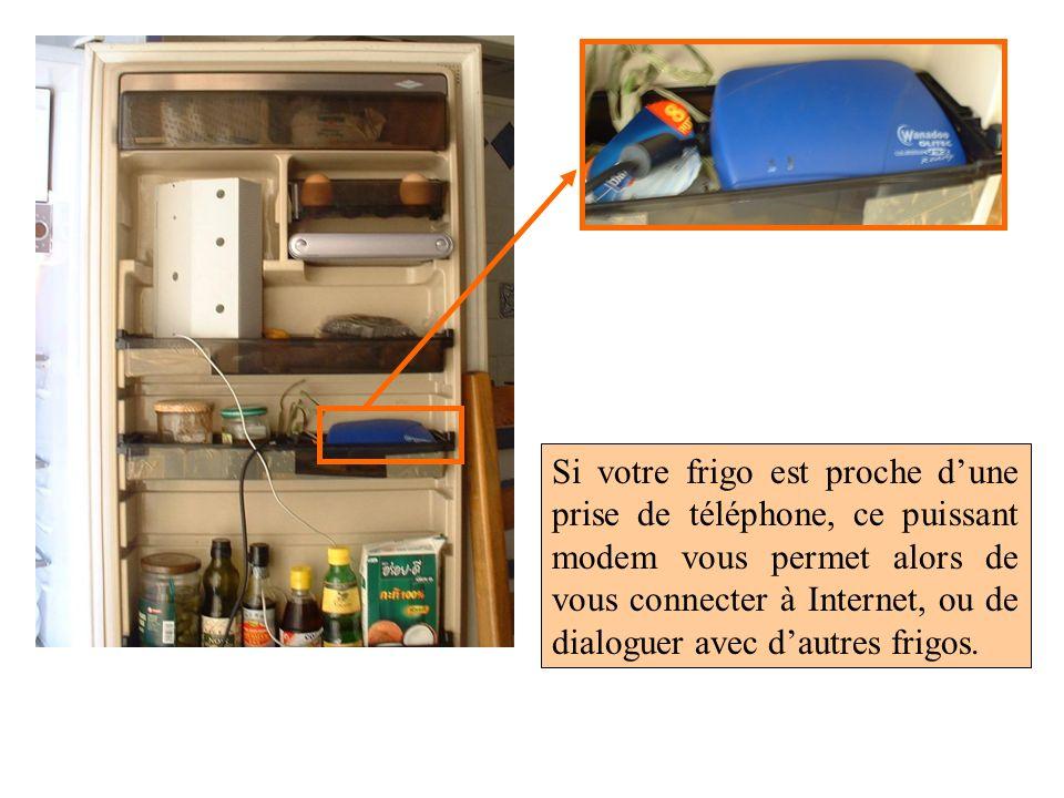 Si votre frigo est proche dune prise de téléphone, ce puissant modem vous permet alors de vous connecter à Internet, ou de dialoguer avec dautres frig