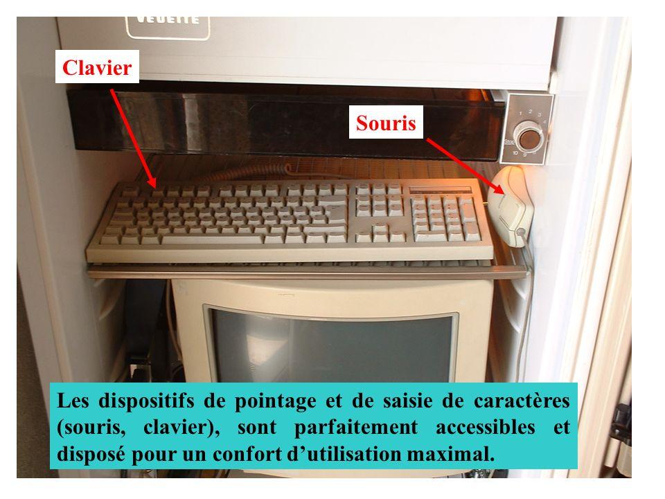 Clavier Souris Les dispositifs de pointage et de saisie de caractères (souris, clavier), sont parfaitement accessibles et disposé pour un confort duti