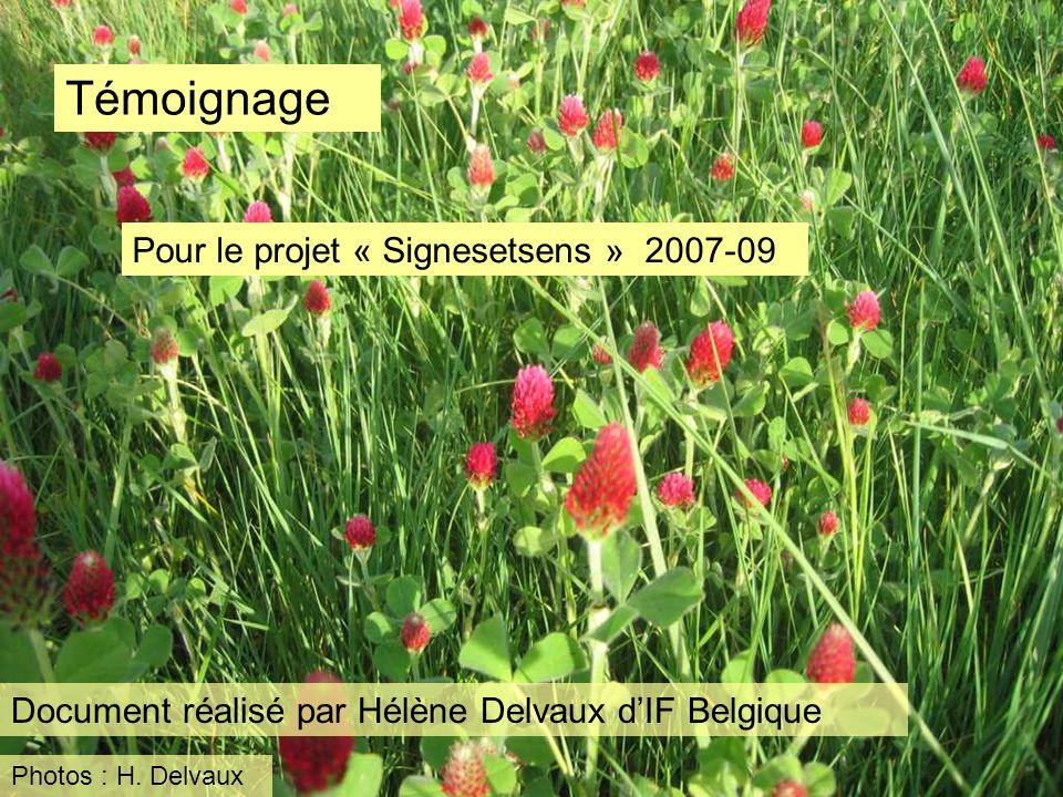 Témoignage Pour le projet « Signesetsens » 2007-09 Document réalisé par Hélène Delvaux dIF Belgique Photos : H. Delvaux